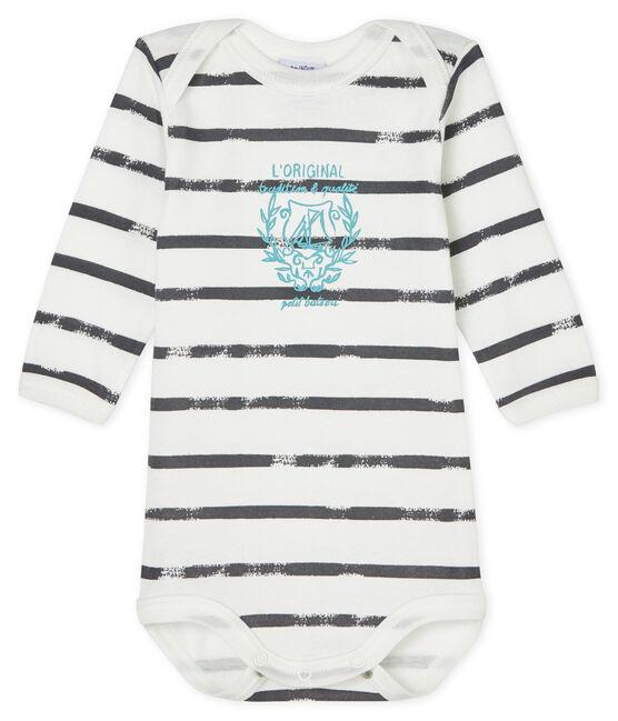 Bodi de manga larga para bebé niño-niña blanco Lait / gris Maki