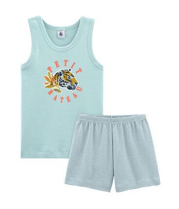 Pijama corto de punto para niño azul Fontaine / blanco Marshmallow