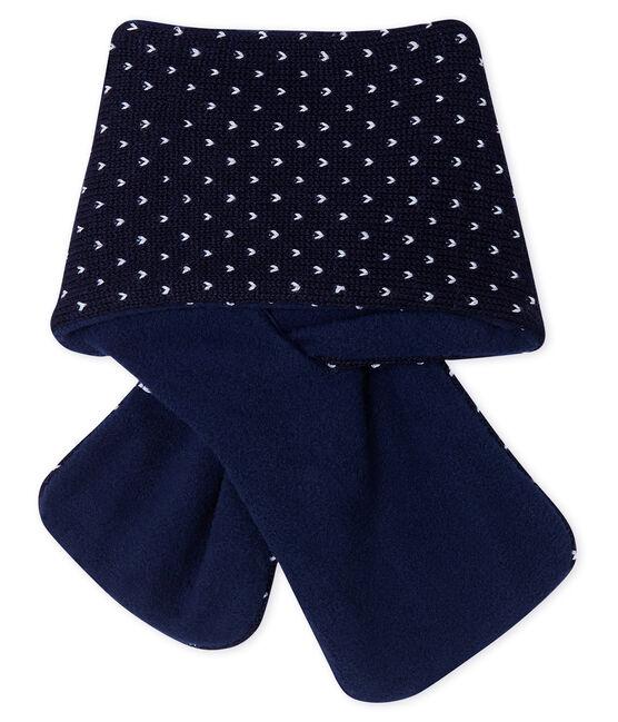 Bufanda para bebé unisex con forro polar azul Smoking / blanco Marshmallow