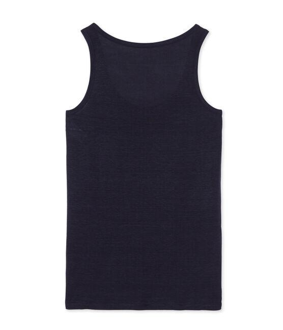 Camiseta sin mangas de lino para mujer azul Smoking