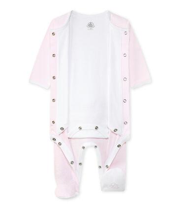 Bodipijama mixto rosa Vienne / blanco Ecume