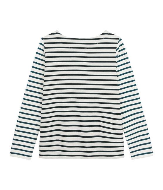 Camiseta marinera upcycling de mujer blanco Montelimar / verde Sherwood