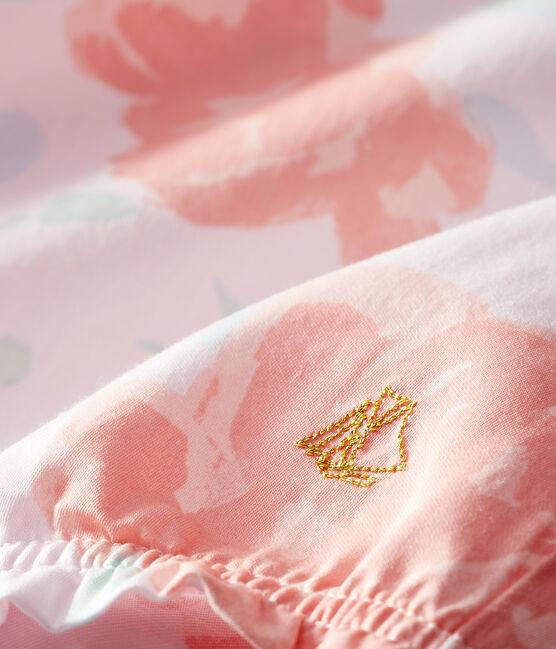 Mono corto de satén estampado para bebé niña rosa Vienne / blanco Multico