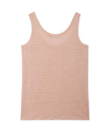 Camiseta sin mangas para mujer, de lino brillante