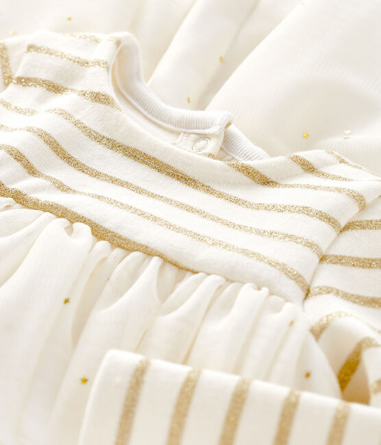 Vestido bimaterial de manga larga para bebé niña beige Coquille / amarillo Lurex Dore