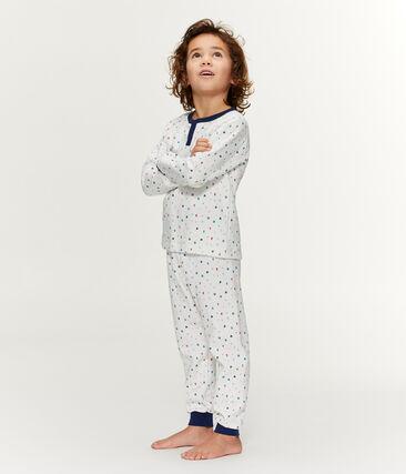 Pijama de felpa con talle alto para niño blanco Marshmallow / blanco Multico