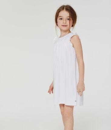 Camisón de algodón fino para niña blanco Ecume