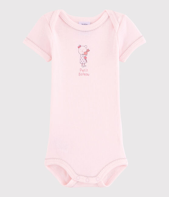 Bodi de manga corta de bebé niña rosa Vienne
