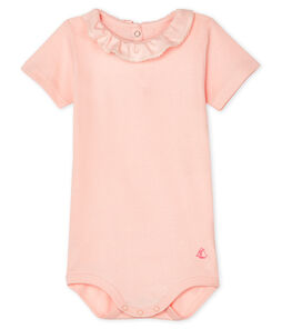Bodi para bebé niña con collarín rosa Minois