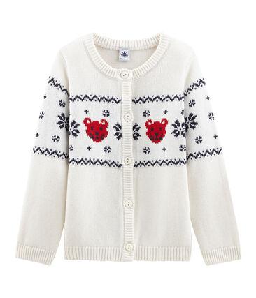 Cárdigan infantil unisex blanco Marshmallow / blanco Multico