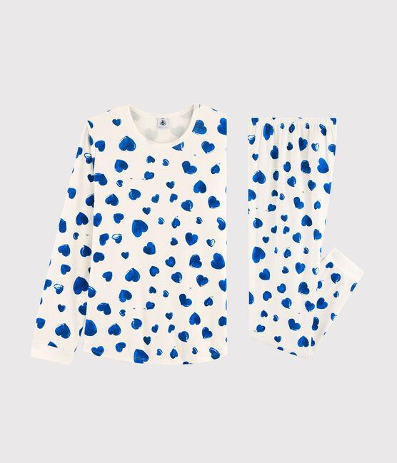 Pijama de chica - mujer con corazones de punto blanco Marshmallow / azul Bleu