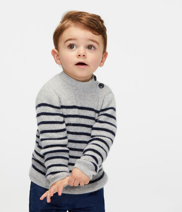 Jersey de cachemira para bebé niño gris Beluga / azul Smoking