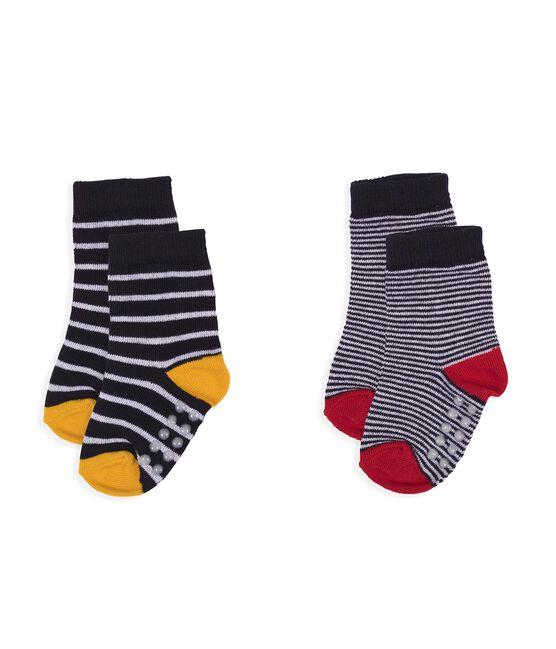 Lote de 2 pares de calcetines para bebé niño blanco Marshmallow / azul Smoking
