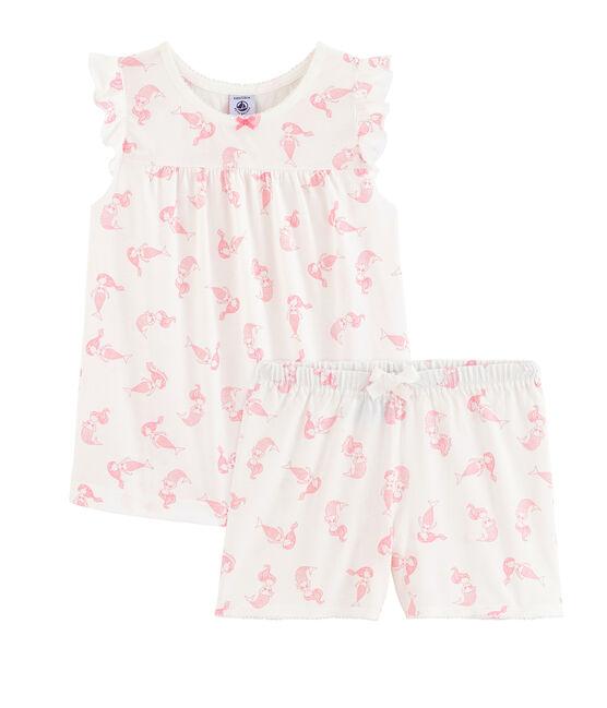 Pijama corto de algodón fino para niña blanco Marshmallow / rosa Rose