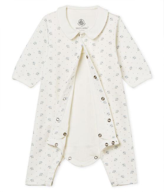 Bodyjama sin pies de punto 1x1 estampado para bebé niño blanco Marshmallow / blanco Multico