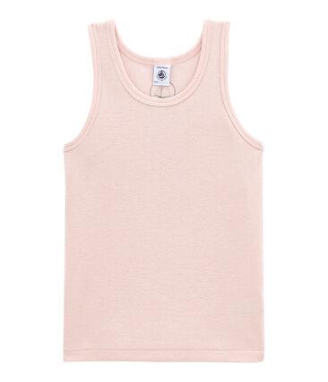 Camiseta sin mangas en lana y algodón rosa Joli