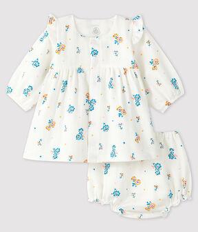 Vestido de flores de manga larga con braguita para bebé niña de tejido de pañal blanco Marshmallow / blanco Multico