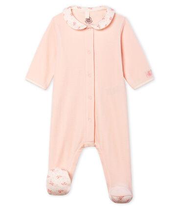 Pelele de terciopelo para bebé niña rosa Fleur
