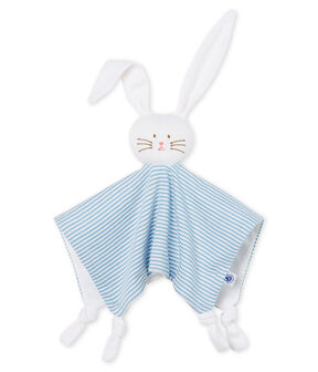 Peluche de conejo para bebé de punto azul Acier / blanco Marshmallow