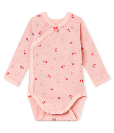 Body de nacimiento de manga larga para bebé niña rosa Joli / blanco Multico