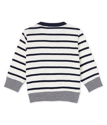 Camiseta de manga larga y rayas para bebé niño blanco Marshmallow / azul Smoking