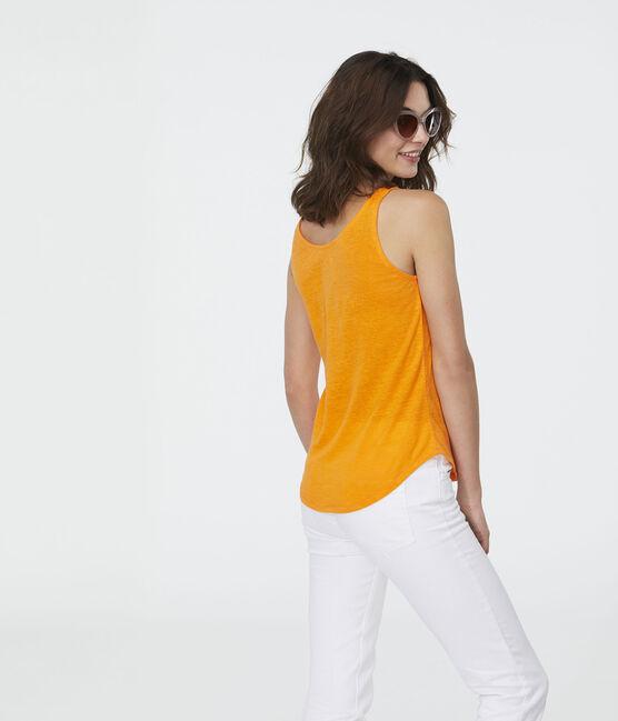 Camiseta de tirantes de lino para mujer naranja Tiger