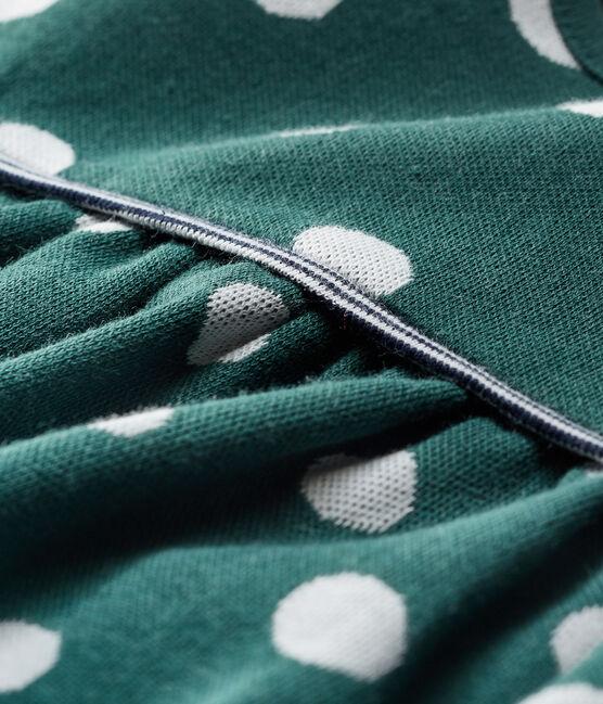 Vestido de manga larga y lunares para bebé niña verde Sousbois / blanco Marshmallow