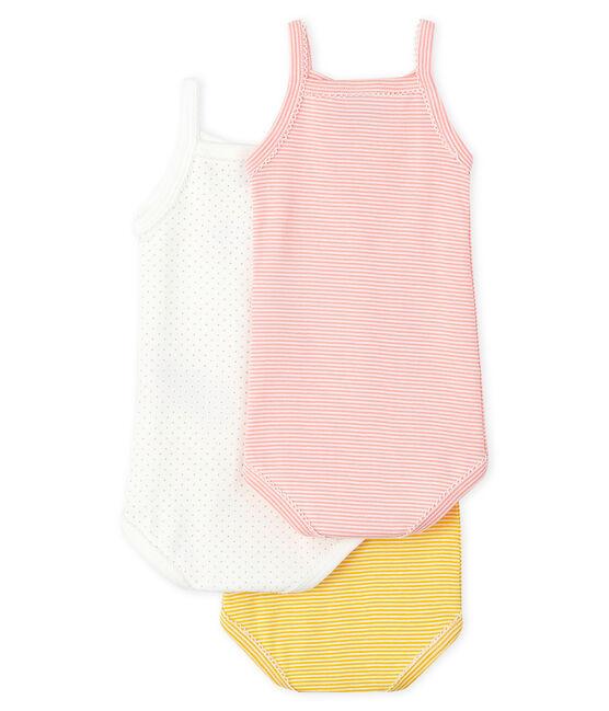 Juego de 3 bodis con tirantes colores pastel para bebé niña lote .
