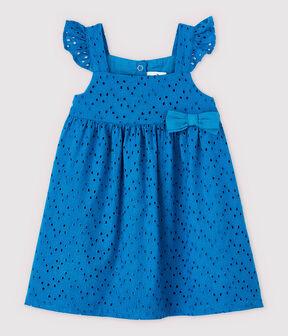 Vestido de tirantes de bordado inglés de bebé niña azul Mykonos