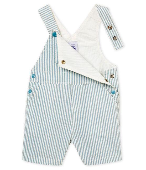 Peto corto de rayas para bebé niño azul Fontaine / blanco Marshmallow