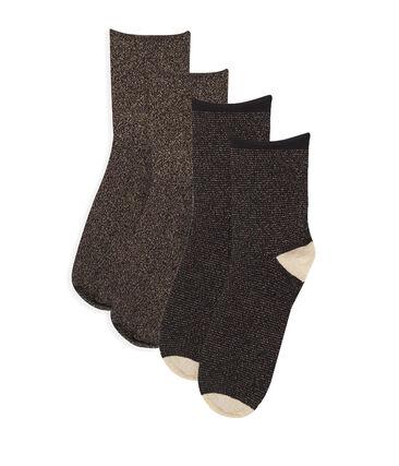 Juego de calcetines a media caña de mujer negro Noir / amarillo Or