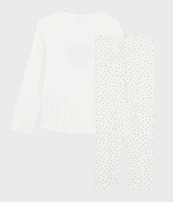 Pijama mini de corazones de niña de punto blanco Marshmallow / azul Medieval