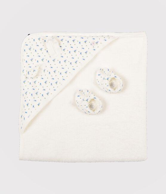 Estuche con toalla de baño y patucos para bebé de rizo y punto blanco Marshmallow / blanco Multico