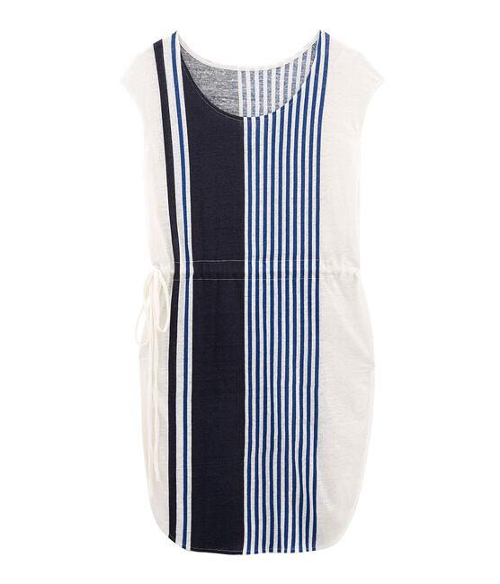 Vestido manga corta de lino para mujer blanco Marshmallow / blanco Multico