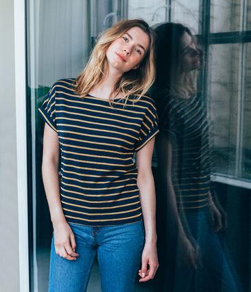 Camiseta de manga corta satinada para mujer