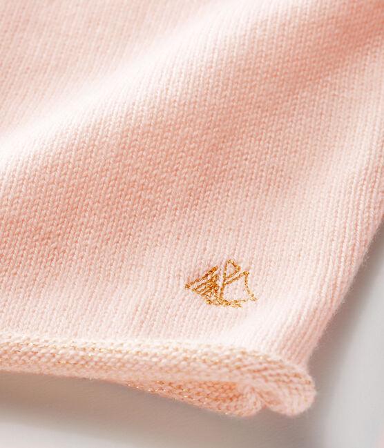 Cárdigan básica de punto de lana y algodón para bebé niña rosa Fleur