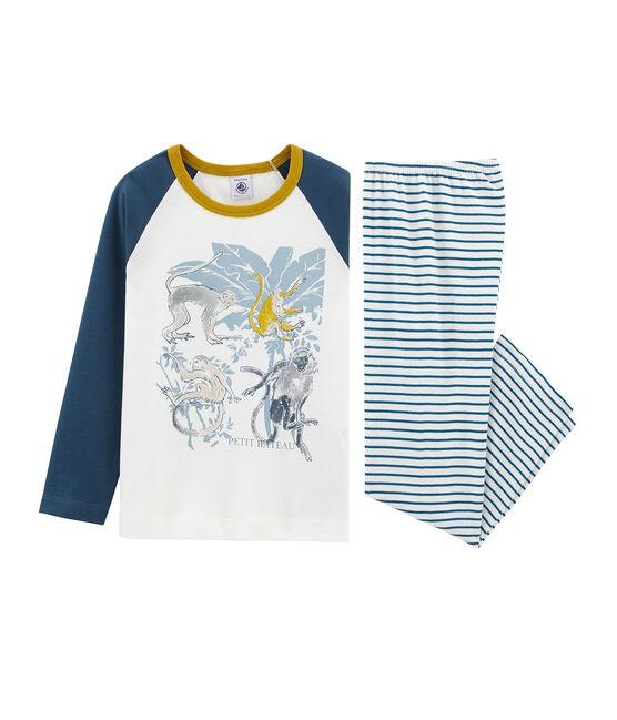 Pijama de algodón infantil para niño blanco Marshmallow / blanco Multico
