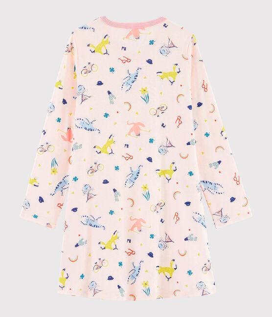 Camisón con estampado de fantasía de niña de punto rosa Fleur / blanco Multico