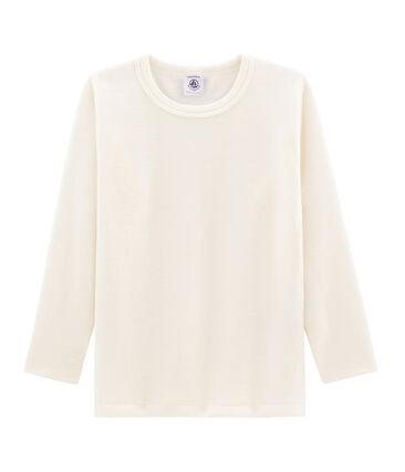 Camiseta infantil de manga larga en lana y algodón beige Ecru