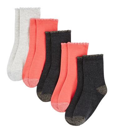 Lote de 5 pares de calcetines infantiles para niña lote .