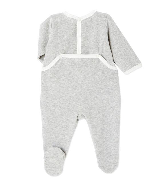Pijama estampado en terciopelo para bebé unisex gris Beluga Chine