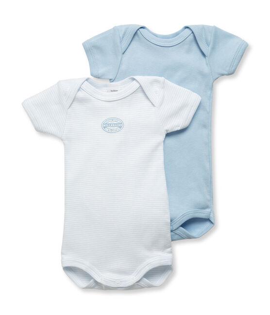 Lote de 2 bodies de manga corta en mil rayas para bebé niño lote .
