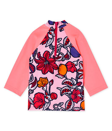 Camiseta anti-UV UPF 50+ ecorresponsable bebé niña rosa Merveille / blanco Multico