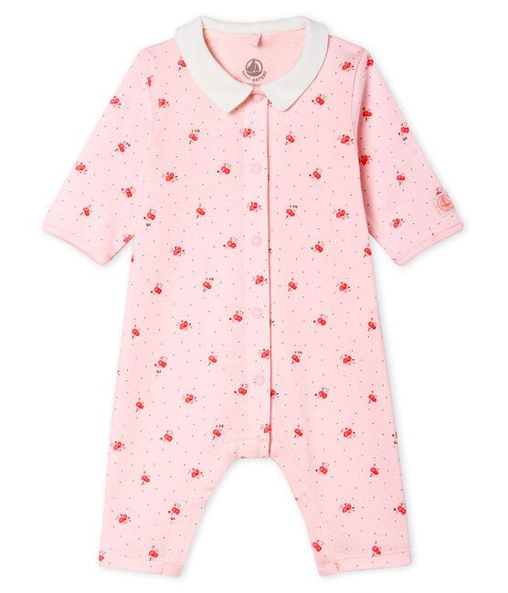 Pelele sin pies de punto para bebé rosa Vienne / blanco Multico