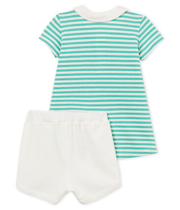 Vestido polo manga corta de rayas y shorts para bebé niña