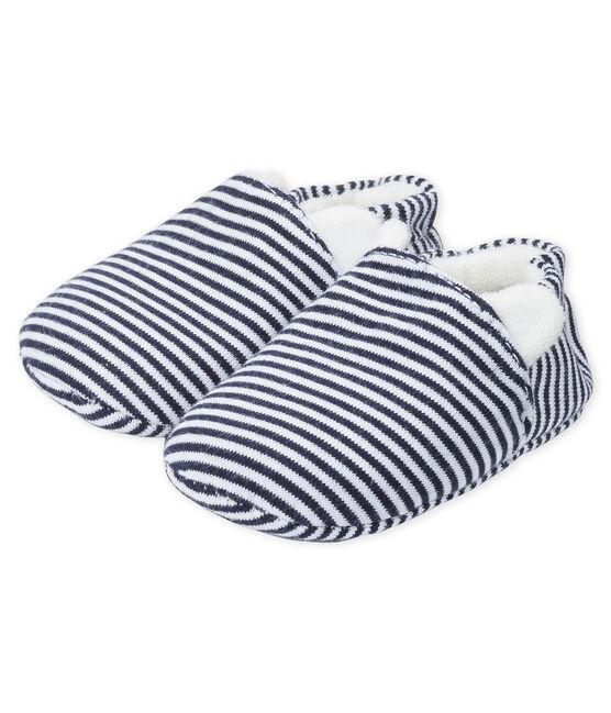 Patucos para bebé niña de punto azul Medieval / blanco Marshmallow