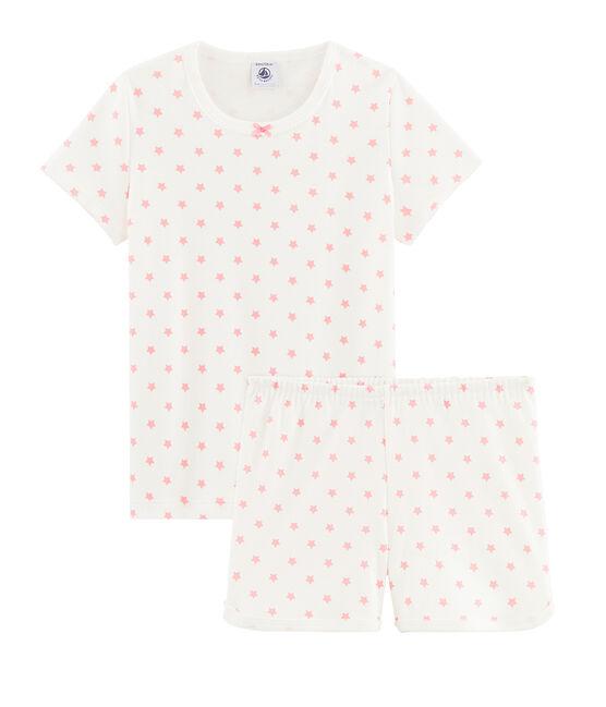 Pijama corto de canalé con estrellas de color rosa para niña blanco Marshmallow / rosa Gretel