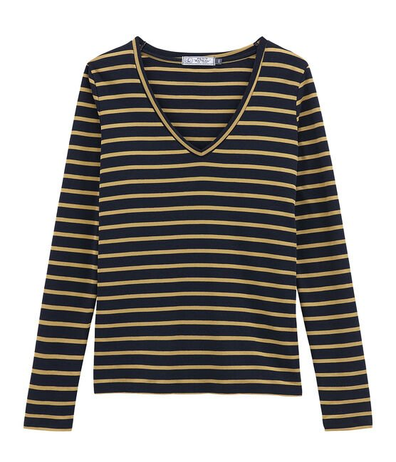 Camiseta de manga larga para mujer azul Smoking / amarillo Brindille Satin
