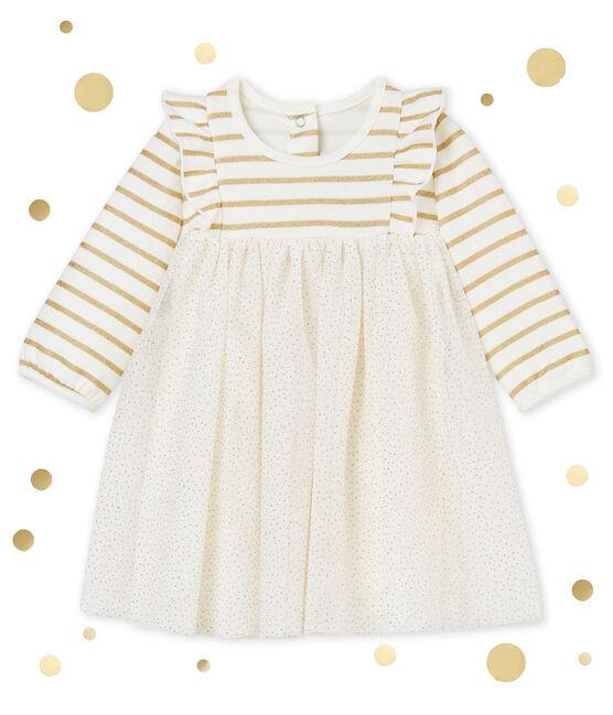 Vestido en tull para bebé niña blanco Marshmallow / amarillo Dore