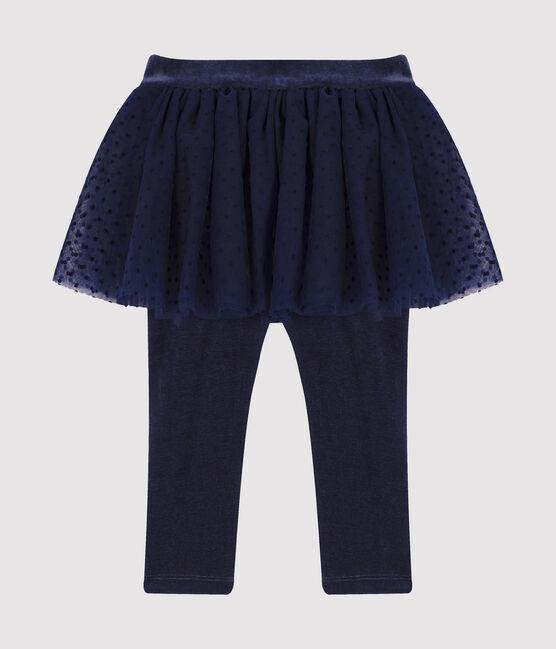 «Legging» para bebé con falda de tul azul Smoking